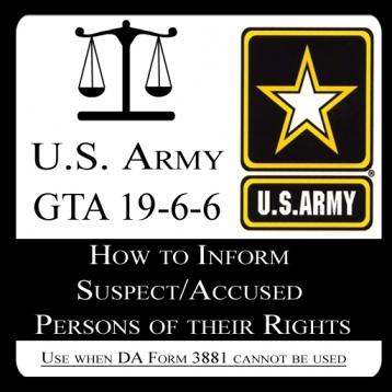 US Army Rights Warning Card (GTA 19-6-6 )