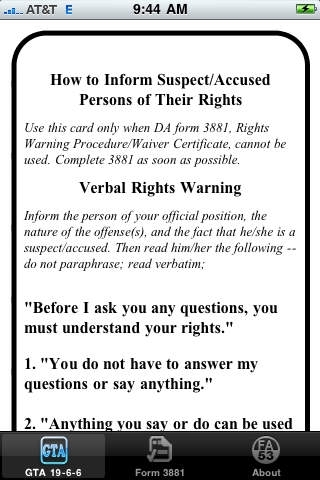 US Army Rights Warning Card (GTA 19-6-6 ) Reference App Review ...