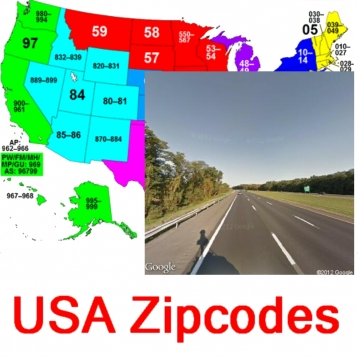 USA Zipcodes Locations and Street View Images