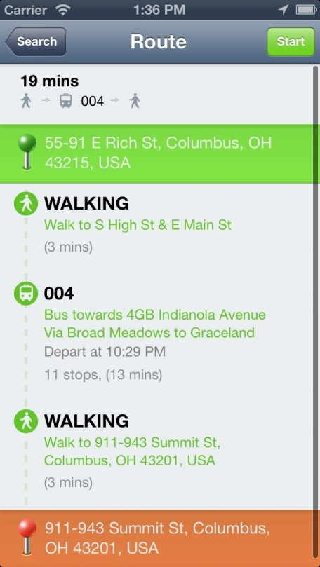vTransit - Columbus public transit search