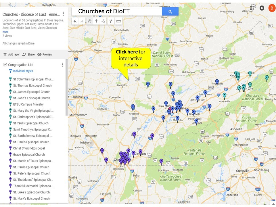 Church Map for Diocese of East Tennessee Bishop Search