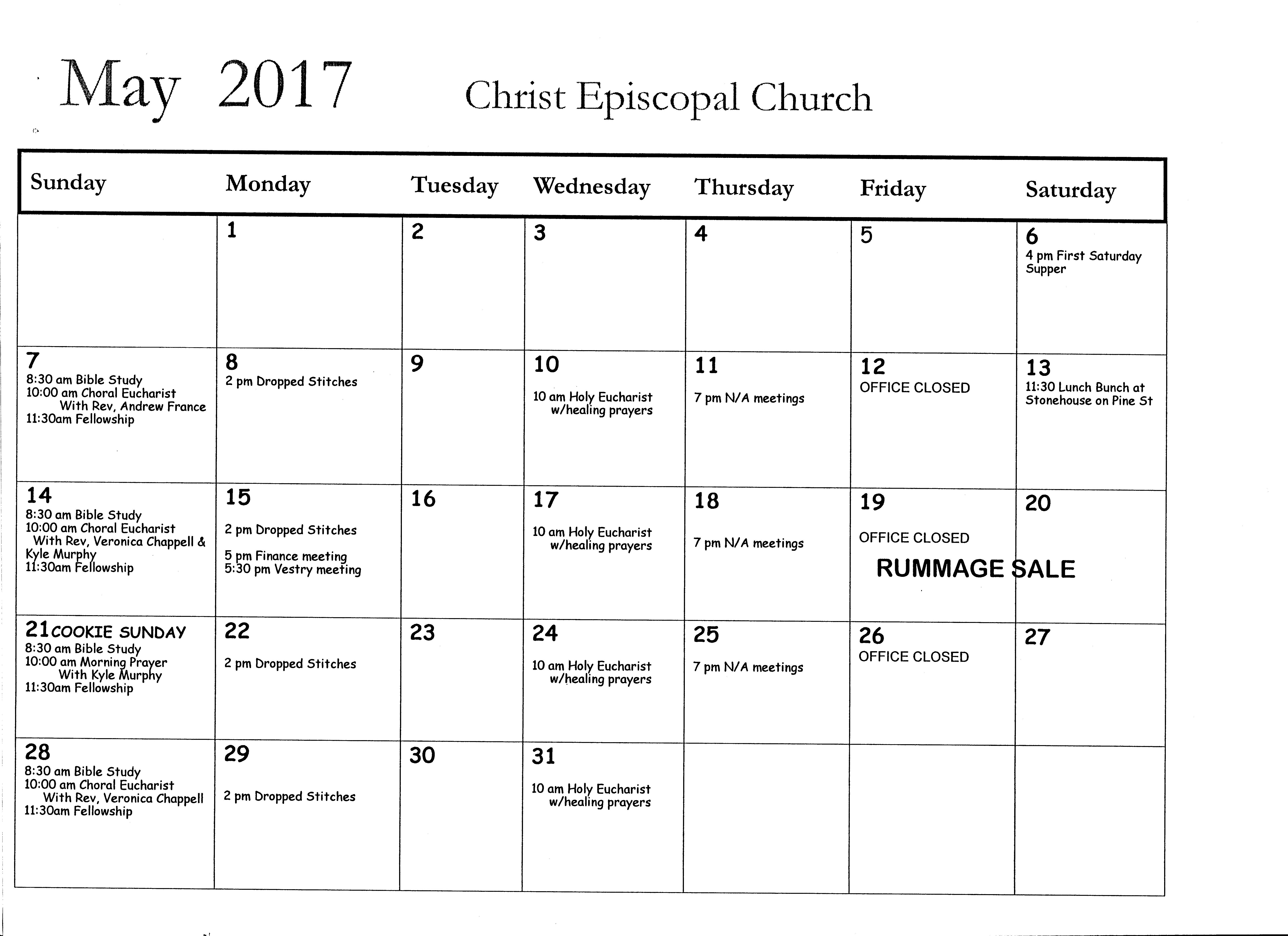 May Calendar Of Events : Calendar of events christ episcopal church