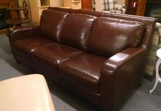 BASSETT BROWN LEATHER SOFA