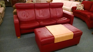 STRESSLESS RED SOFA & OTTOMAN