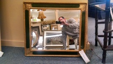 30X26 GOLD AND GREEN MIRROR