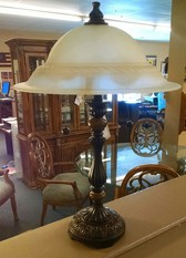 BRONZE LAMP WITH A GLASS SHADE