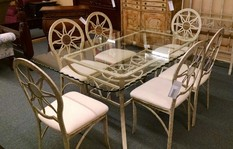 METAL&GLASS TOP TABLE 6CHAIRS