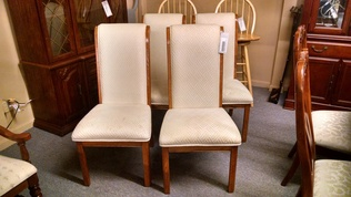 4 OAK/FABRIC DINING CHAIRS