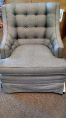 BLKWHITE CHECKED TUFTED CHAIR