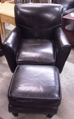 HAVERTYLEATHER CHAIR & OTTOMAN
