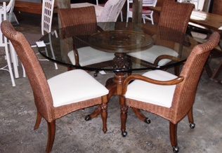 GLASS TOP TABLE WITH 4CHAIRS