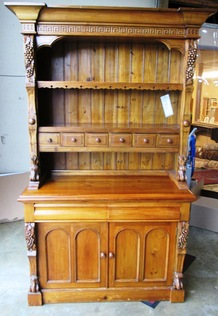 KEENPINE-ORNATELY CARVED HUTCH