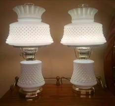 MILK GLASS HOBNAIL LAMPS