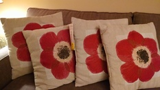 4 TAN W/ RED FLOWERS PILLOWS