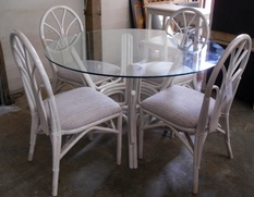 RATTAN DINING TABLE & CHAIRS