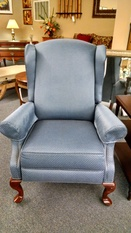 BLUE/WHITE WINGBACK RECLINER