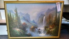 FRAMED CANVAS WATER FALL SCENE
