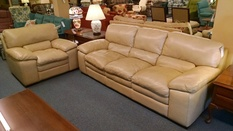 BASSETT LEATHER SOFA AND CHAIR