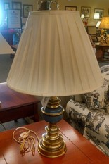 BLUE AND BRASS LAMP