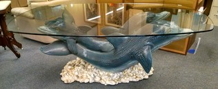 UNIQUE DOLPHIN GLASS TABLE