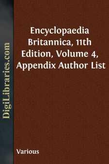 Encyclopaedia Britannica, 11th Edition, Volume 4, Appendix Author List