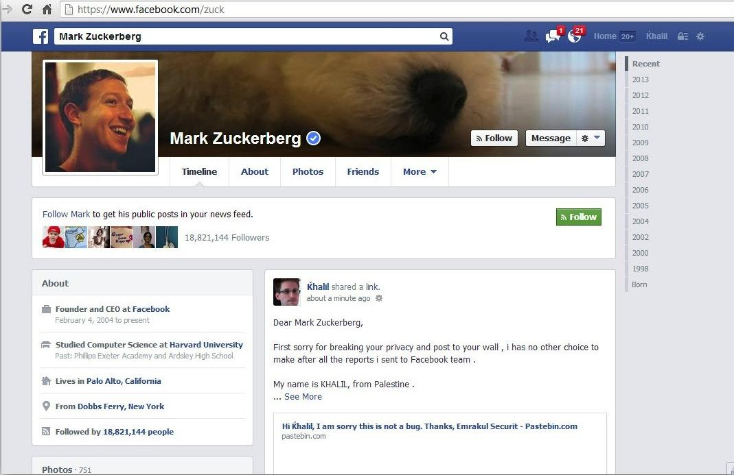 a guy spammed mark zuckerbergs wall because facebook ignored his bug report  zuckerberg hack