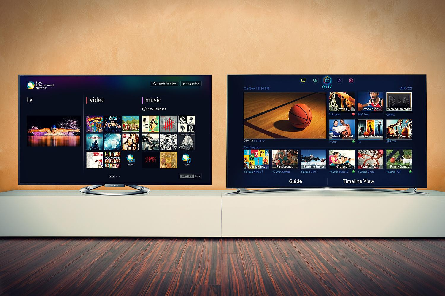 Sony vs samsung whose tv belongs in your living room for Samsung smart tv living room
