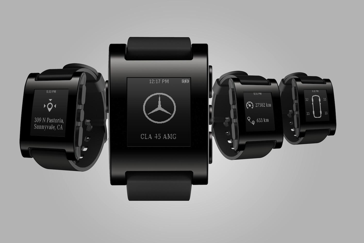 Mercedes benz and pebble technology unveil a car connected smartwatch digital trends for Pebble watches