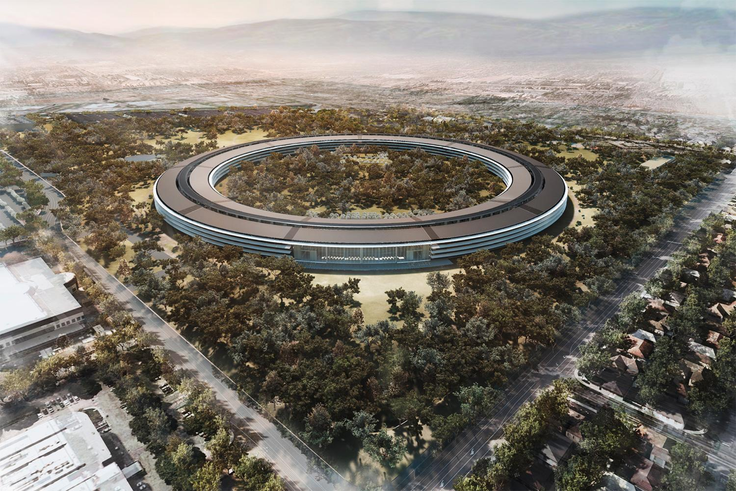 Flyover video of apple 39 s 39 spaceship 39 campus shows true for Sede apple cupertino