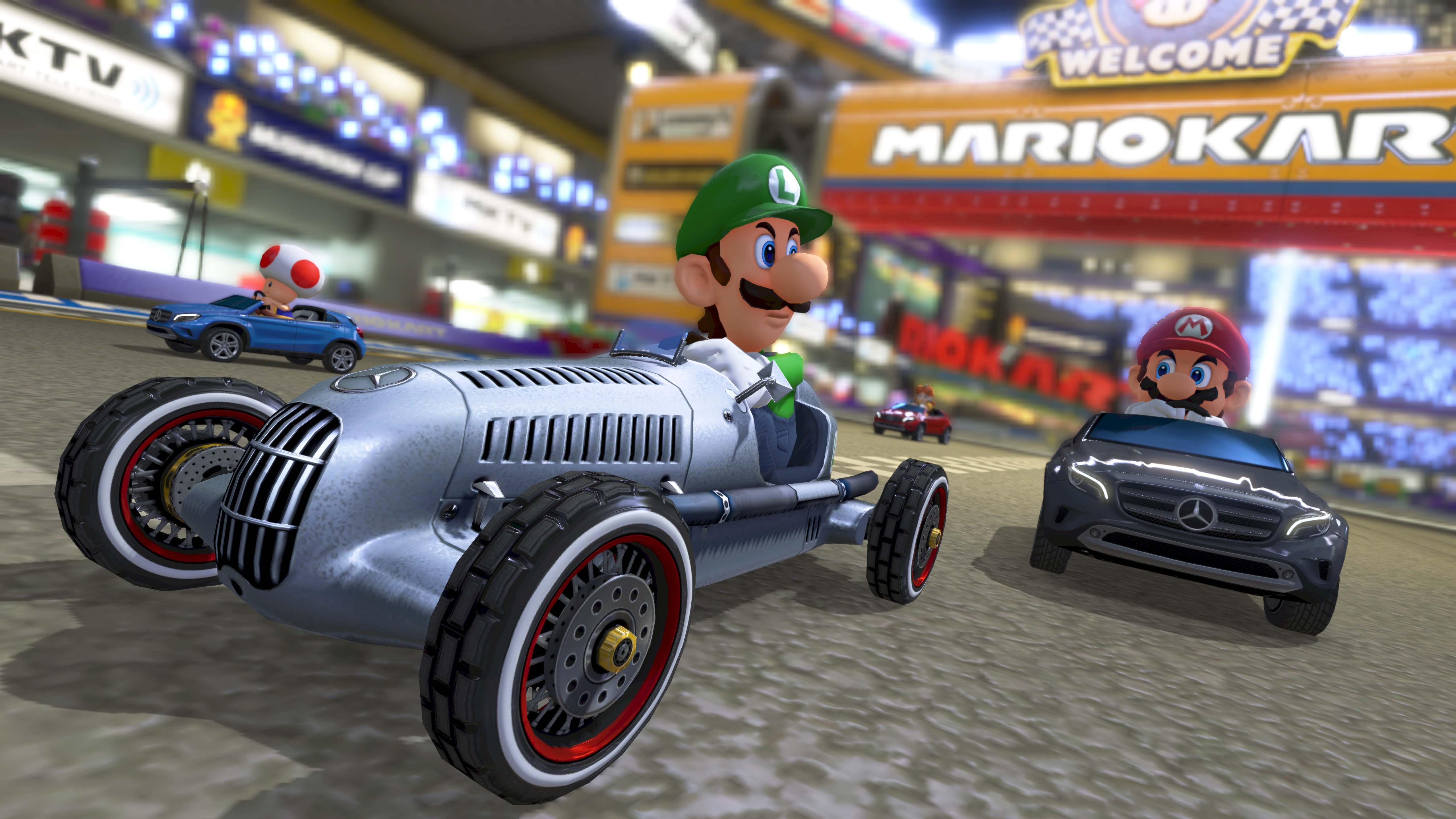 mario kart  adds mercedes benz garage august