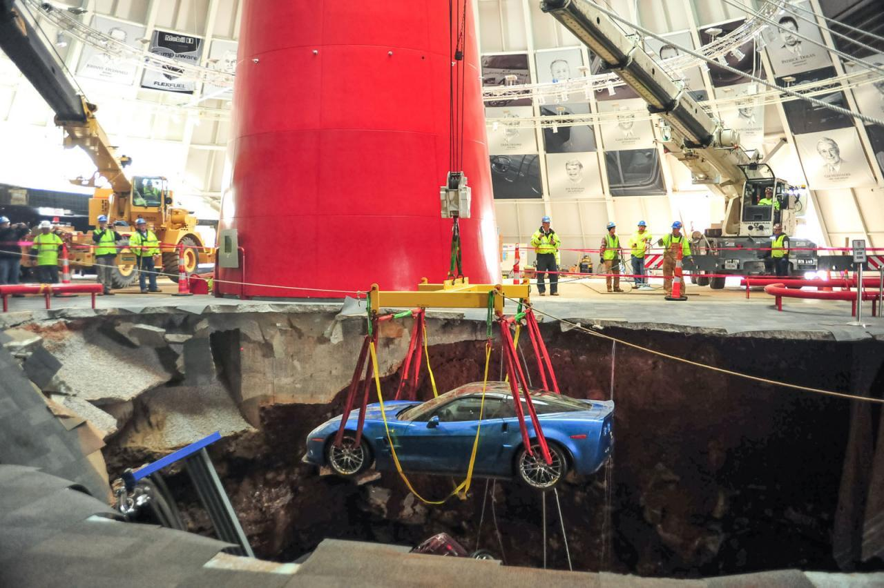National Corvette Museum >> National Corvette Museum Sinkhole Filled Repairs Continue