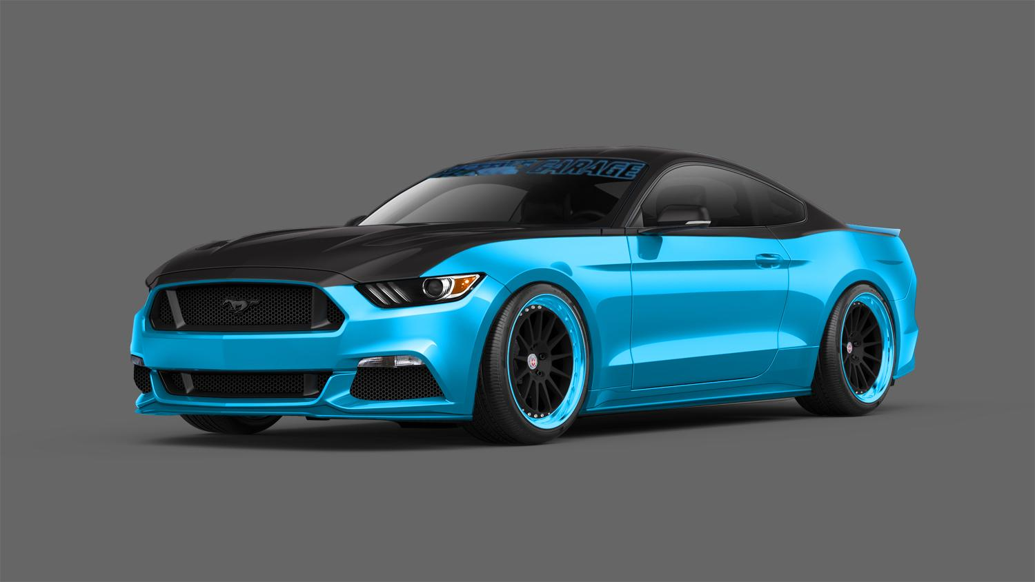 Ford gives the petty s garage two tone mustang sema show for Cool life paint cost