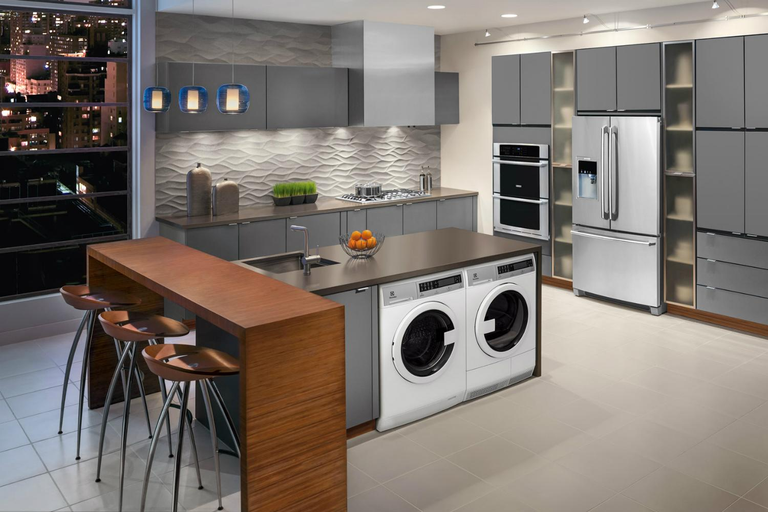 Compact Laundry Machines Perfect For Apartments With Kitchen Showers
