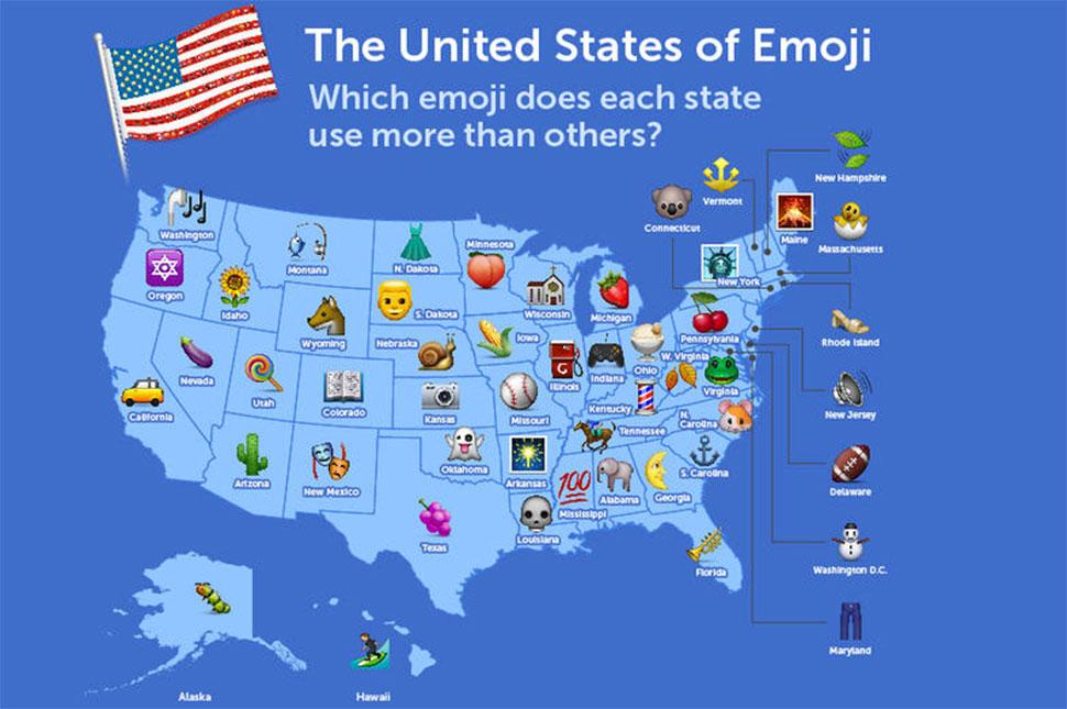 Whats Your Favorite Emoji SwiftKeys United States Of Emoji - Us stereotypes map