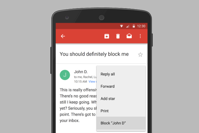 Gmail Now Lets You Banish Annoying Senders With New Block