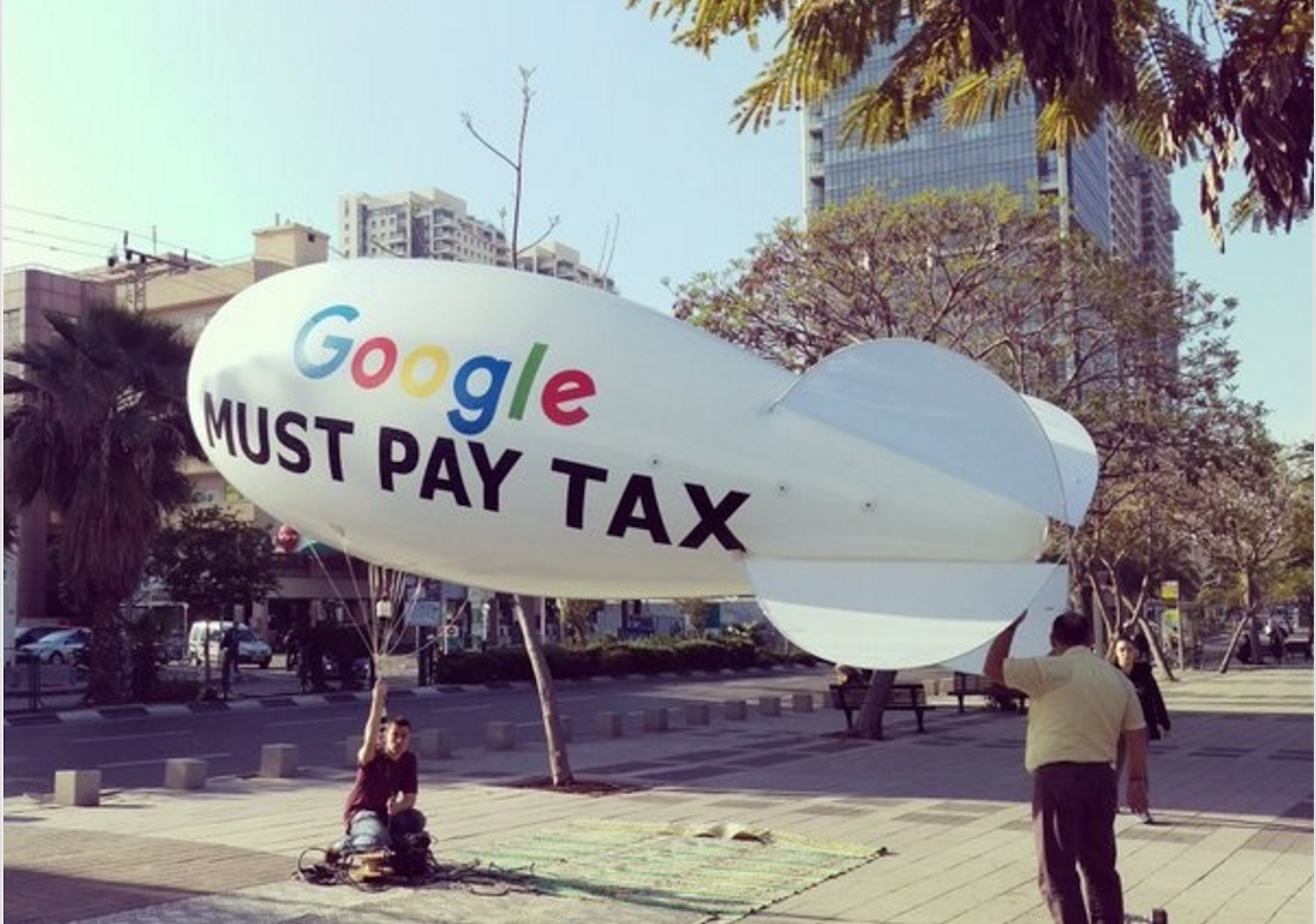 Blimp Outside Google Office Says Google Must Pay Tax  Digital