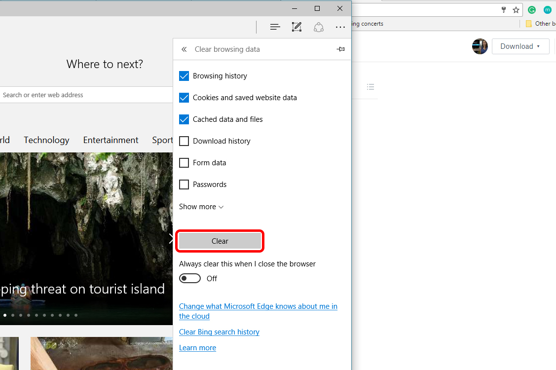 How To Clear Browser History Edge Outline