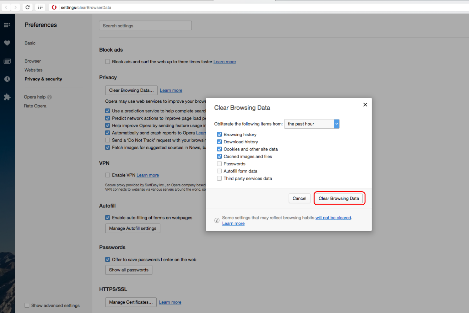 How To Clear Browser History Opera Step 3