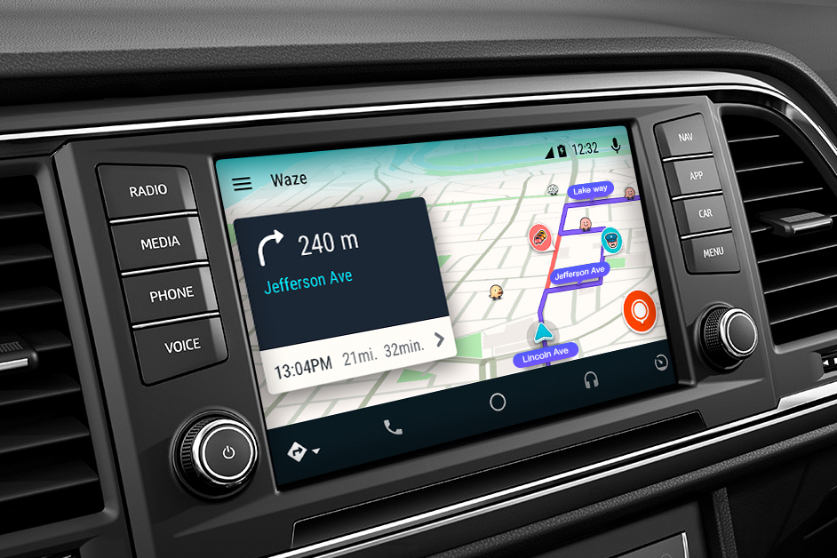 waze joins the crowd brings community sourced navigation to android auto. Black Bedroom Furniture Sets. Home Design Ideas