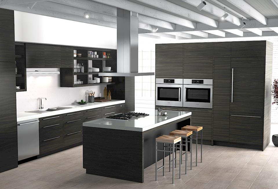 bosch s black stainless steel kitchen suite keeps yours sleek and smudge free. Black Bedroom Furniture Sets. Home Design Ideas