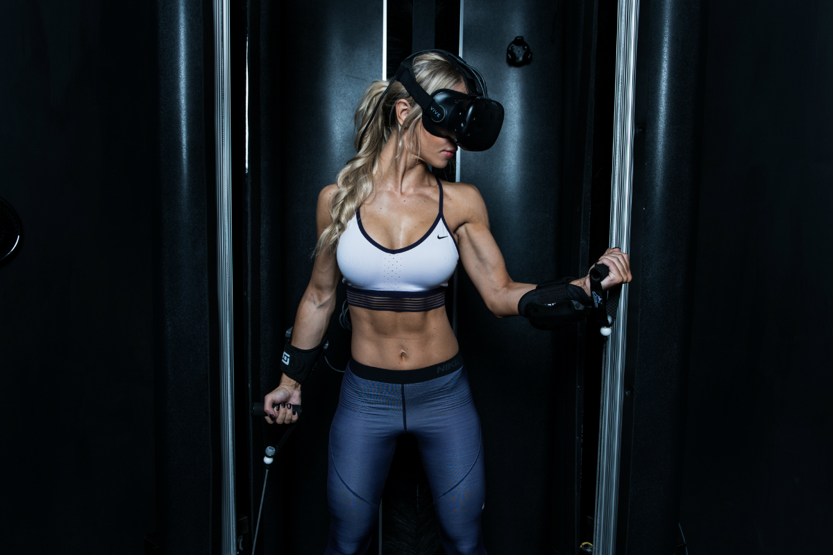 virtual reality girl resistance fitness