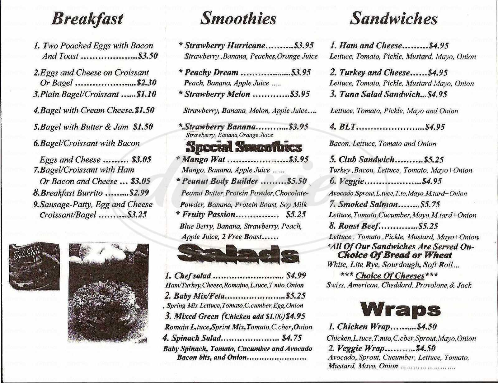 menu for Merritt Station Café