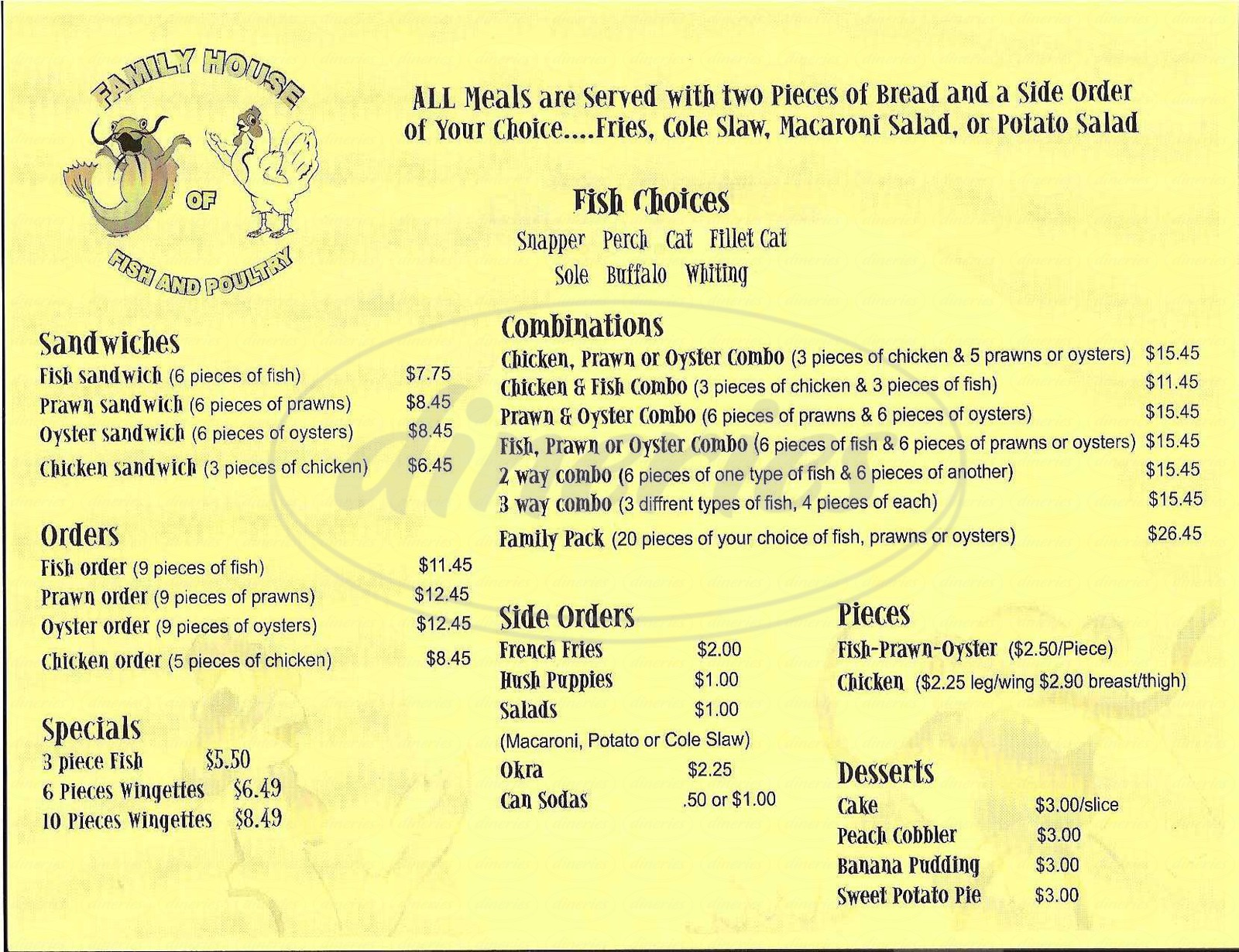 Family house of fish poultry menu hayward dineries for Fish house menu