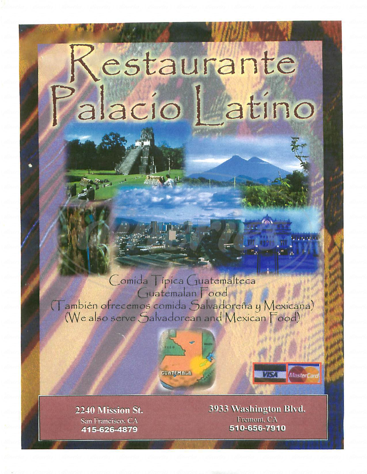menu for Palacio Latino