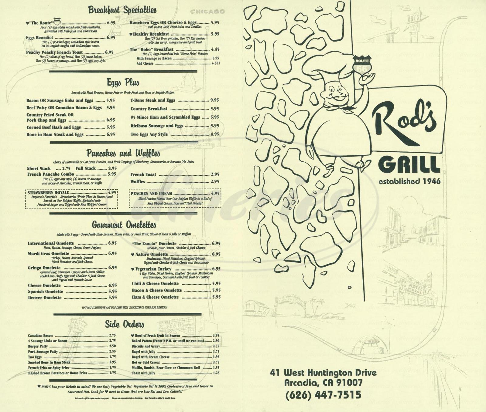 menu for Rod's Grill