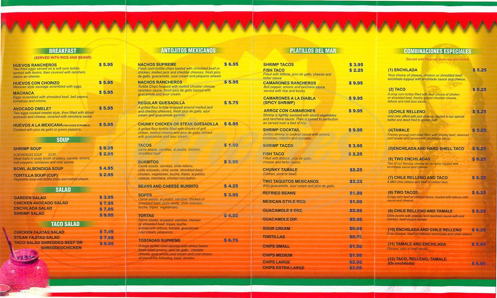 menu for El Paseo
