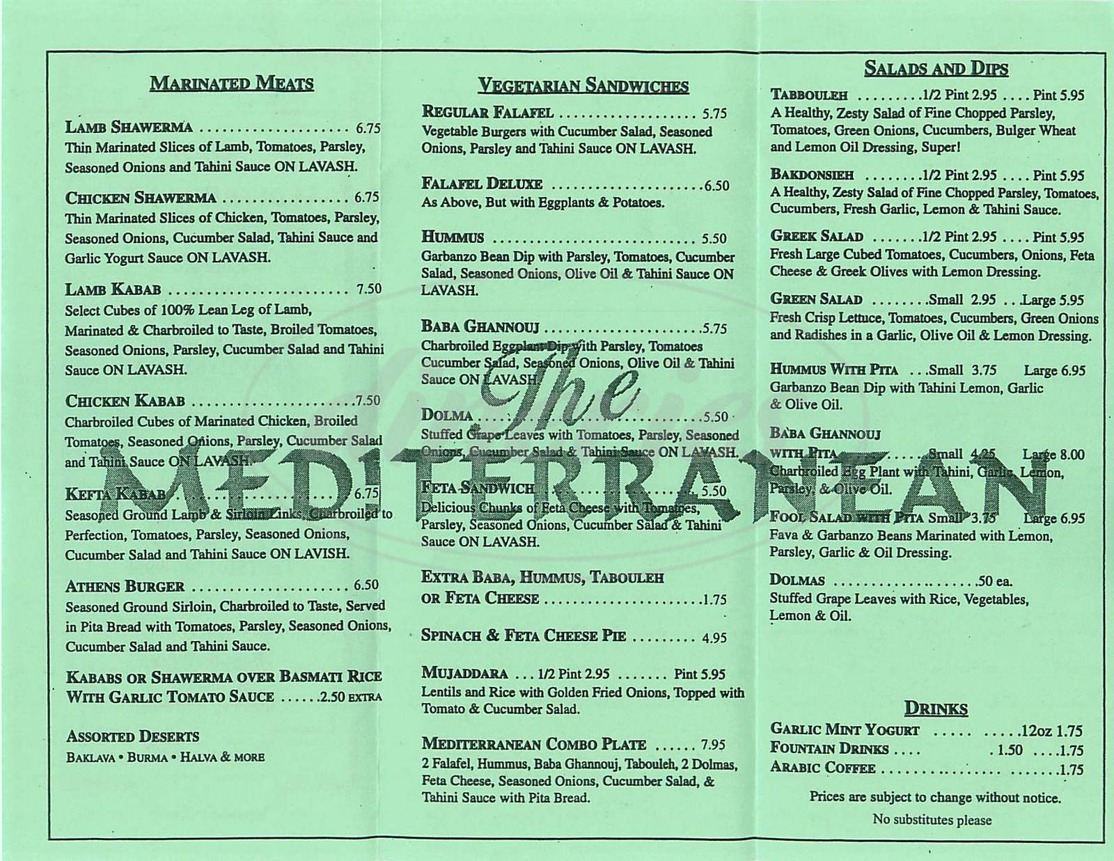 the mediterranean menu concord dineries