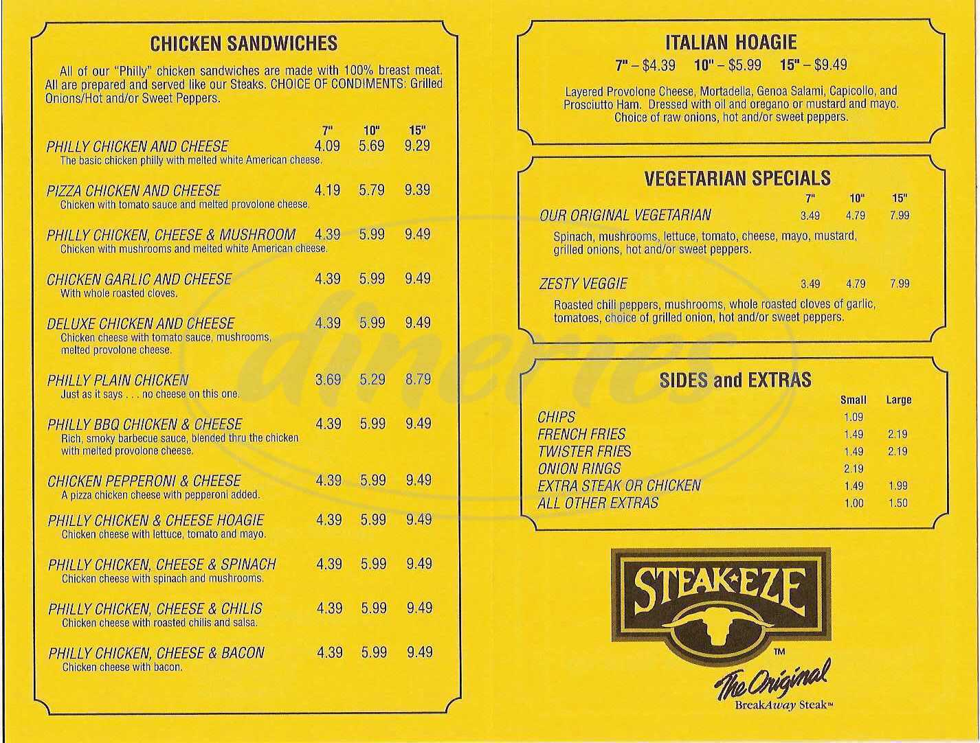 menu for Cheese Steak Shop
