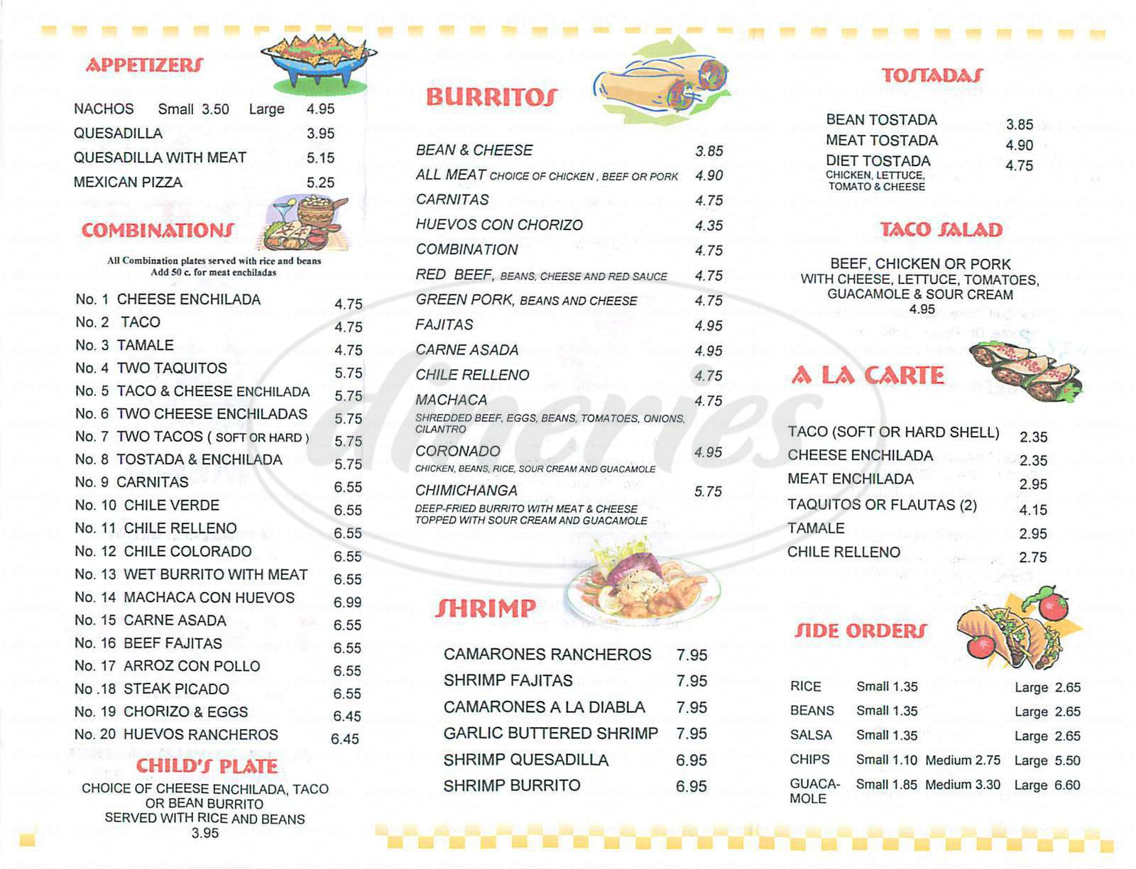 menu for Antonio's Mexican Food