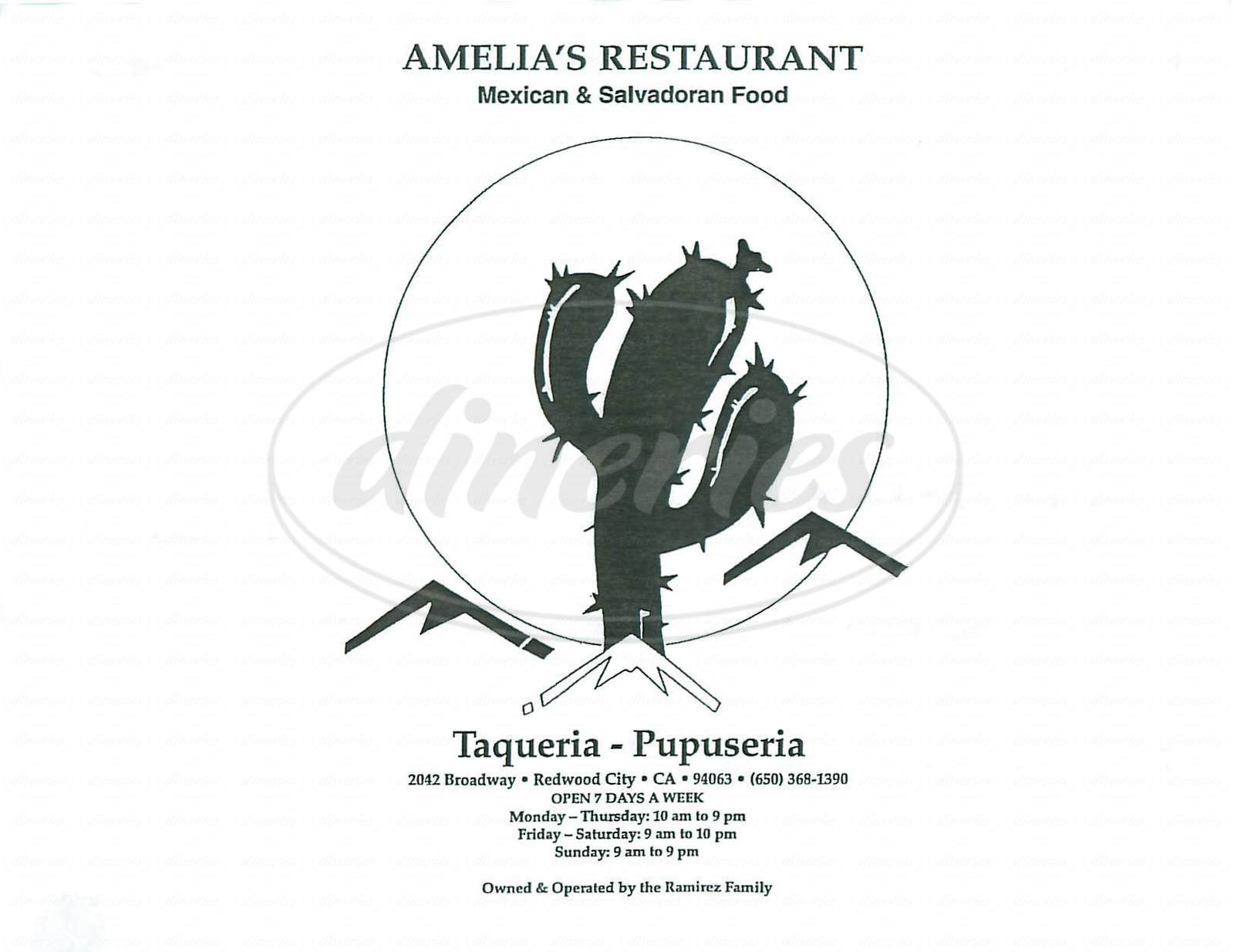 menu for Amelia's Restaurant
